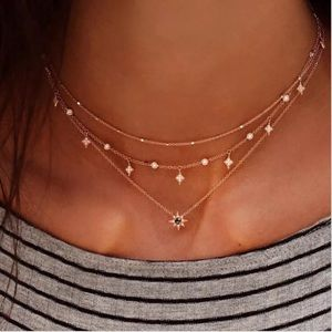 Triple Star Layer Choker Necklace